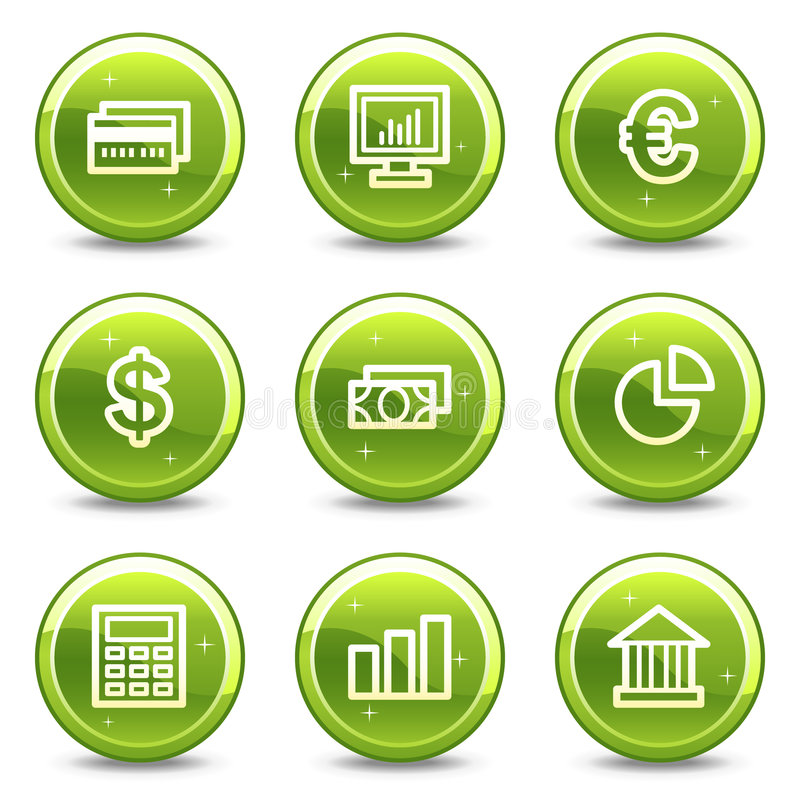Finance web icons. Vector web icons, green glossy circle buttons series vector illustration