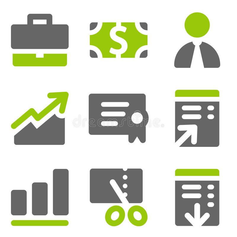 Finance web icons set 1, green grey solid icons stock illustration