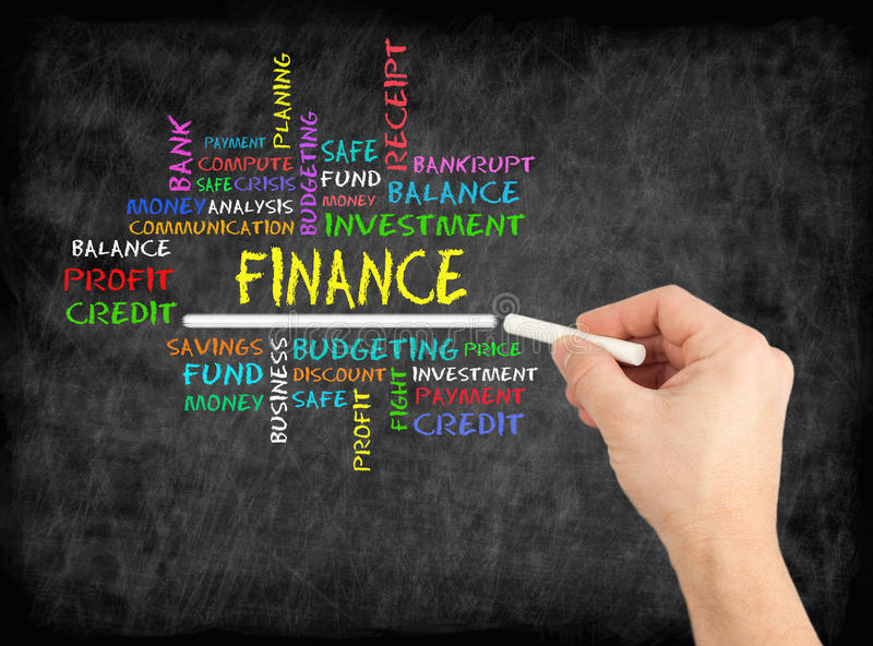 FINANCE word cloud, business concept on chalkboard stock photography
