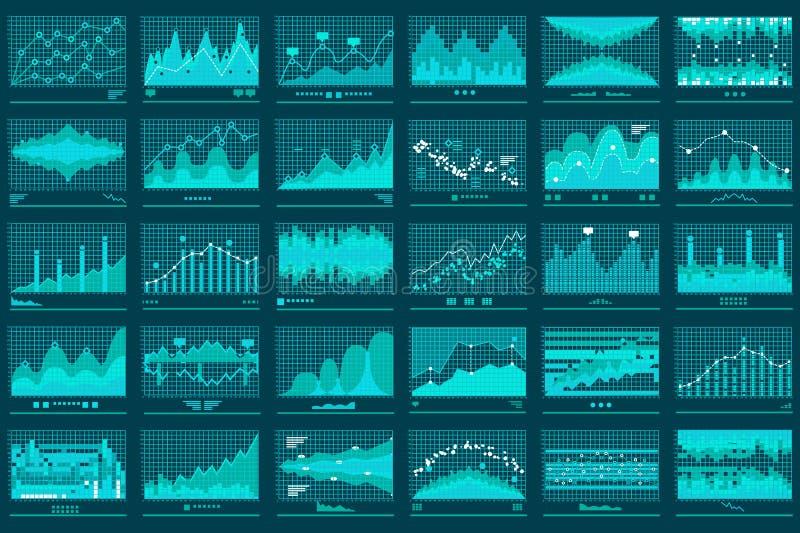 Financeiro bandeira do vetor do negócio dos gráficos lineares ilustração stock
