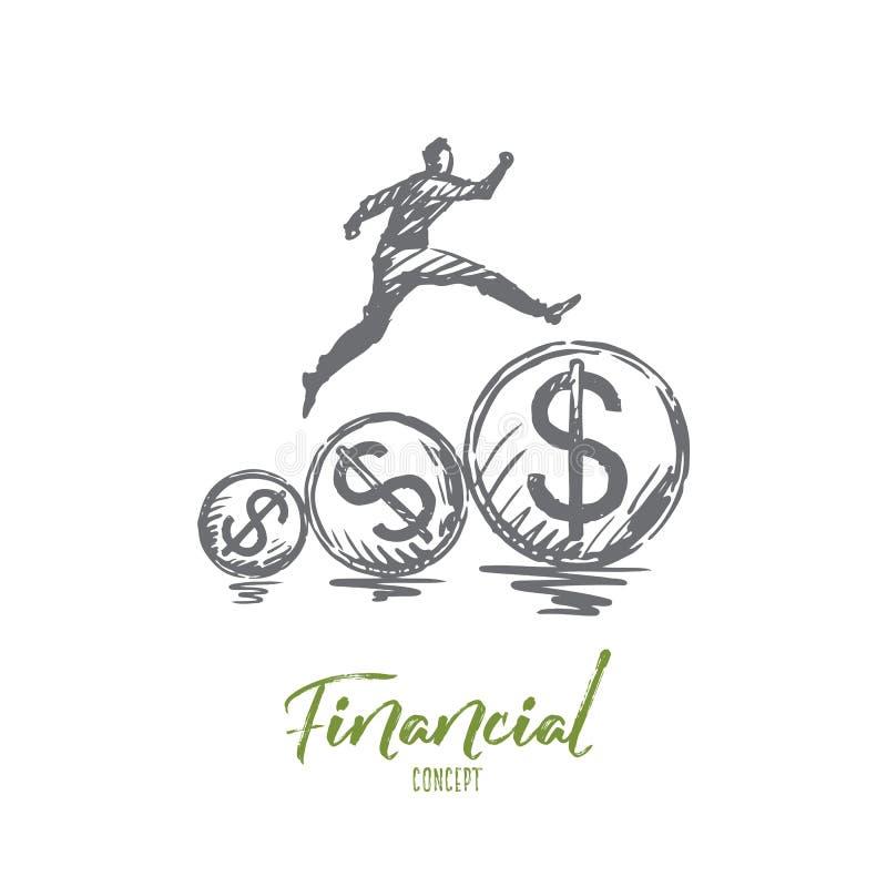 Financeiro, dinheiro, crescimento, lucro, conceito do pagamento Vetor isolado tirado mão ilustração stock