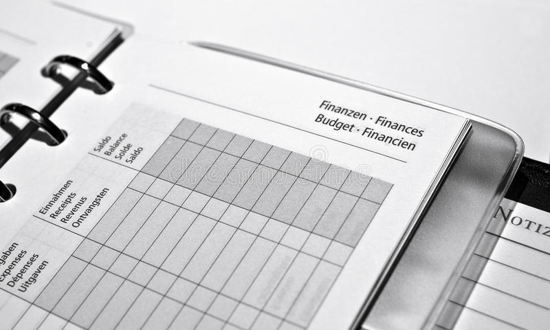 Finances. Business agenda, finances overview page multilingual stock image