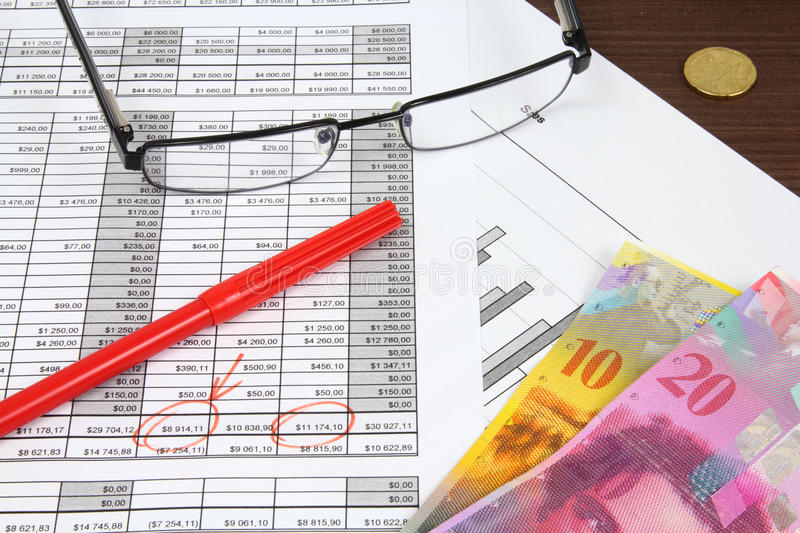 Finances. Business composition. Financial analysis - income statement, red marker, glasses and Swiss frank money royalty free stock photos