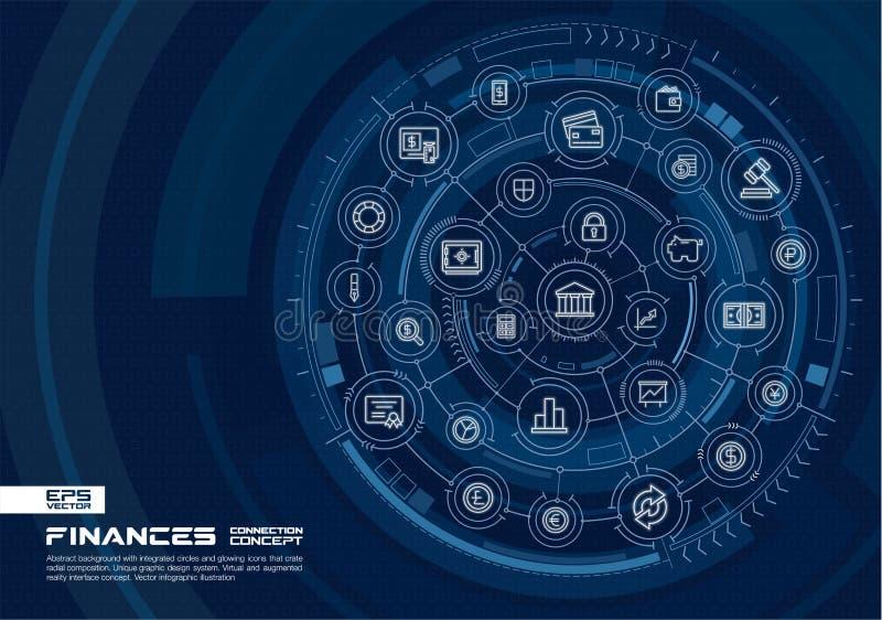 Finances abstraites, fond de technologie de banque Digital relient le système aux cercles intégrés, ligne rougeoyante icônes illustration de vecteur