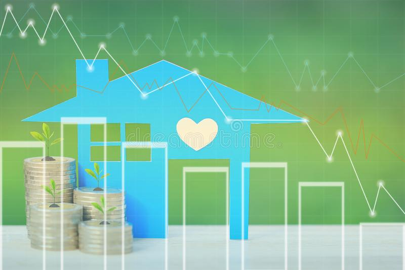 Finances, arbres s'élevant sur la pile d'argent de pièces de monnaie et maison bleue avec le graphique sur le fond, les taux d'in illustration stock