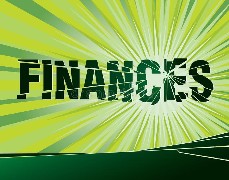 Finances broken. Vector illustration of a broken word 'finances vector illustration
