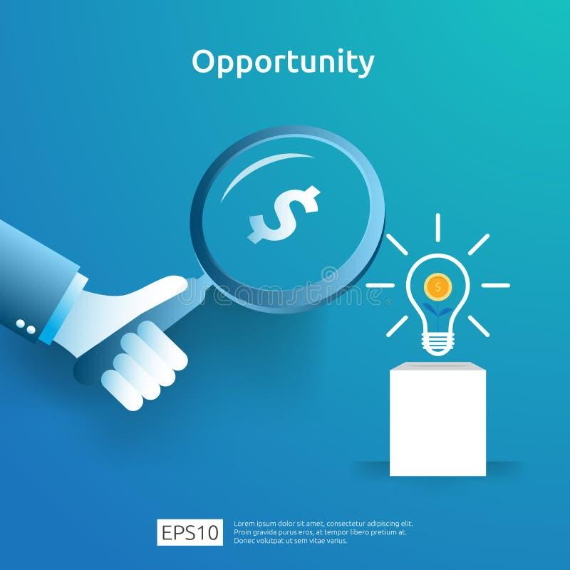 finances concept analytique et de recherches d'occasion avec le dollar et la loupe d'ampoule en main recherche d'investisseur illustration stock