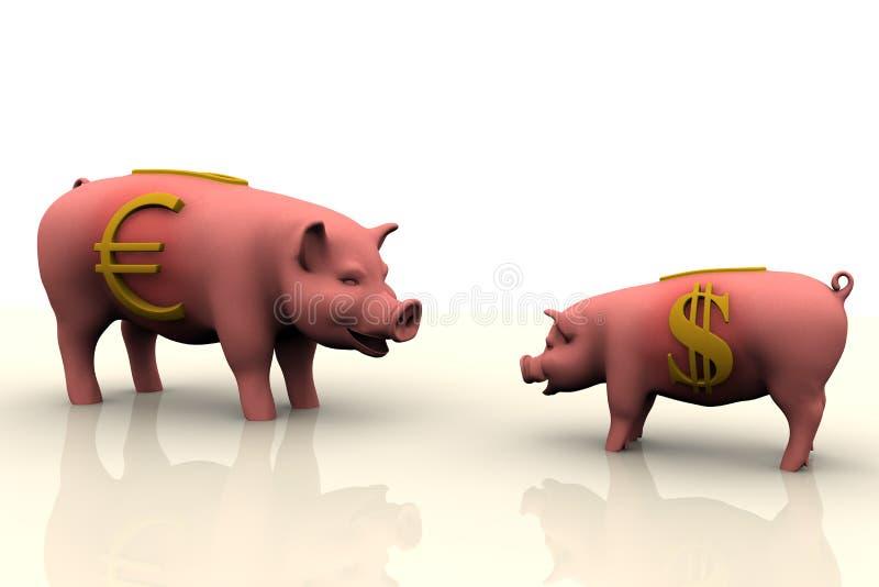 finances de côté porcines illustration de vecteur
