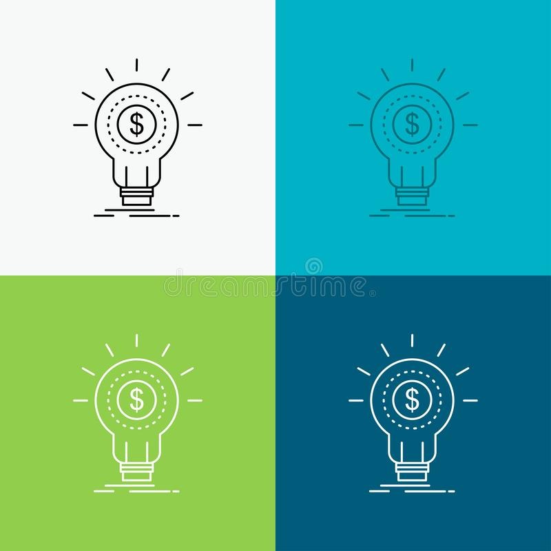 Finances, financières, idée, argent, icône de démarrage au-dessus de divers fond Ligne conception de style, con?ue pour le Web et illustration de vecteur