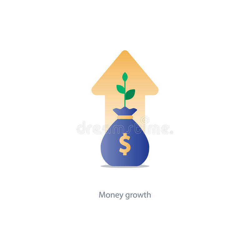 Finances and investment management, budget planning, compound interest, income. Compound interest, added value, financial investments in stock market, future stock illustration