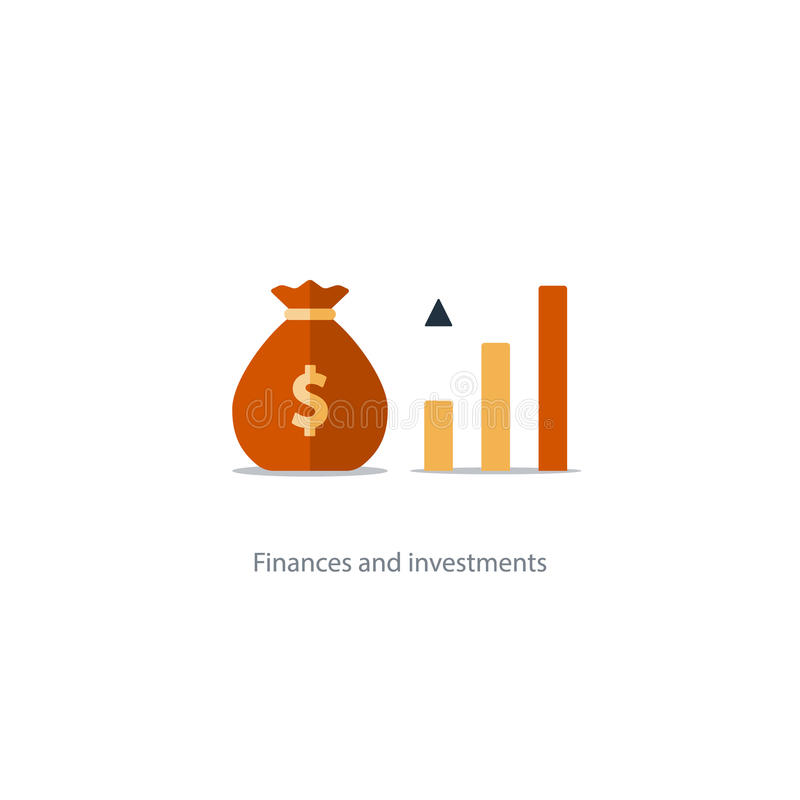 Finances and investment management, budget planning, compound interest, income. Compound interest, added value, financial investments in stock market, future royalty free illustration