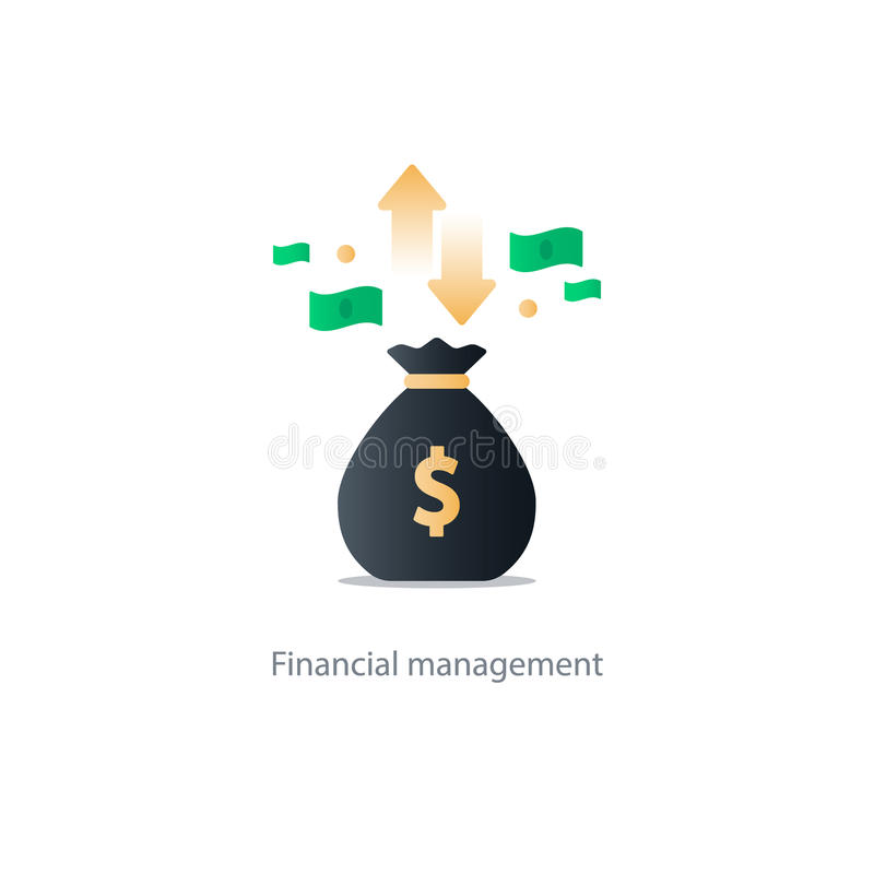 Finances and investment management, budget planning, compound interest, income. Compound interest, added value, financial investments in stock market, future vector illustration