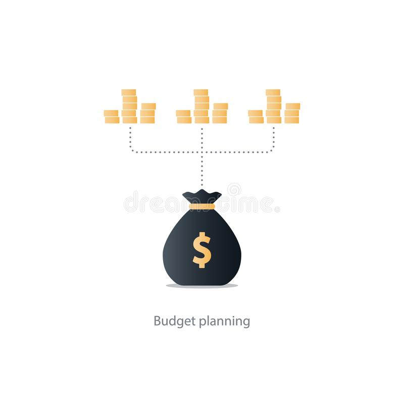 Finances and investment management, budget planning, compound interest, income. Compound interest, financial investments in stock market, allocate money, collect vector illustration