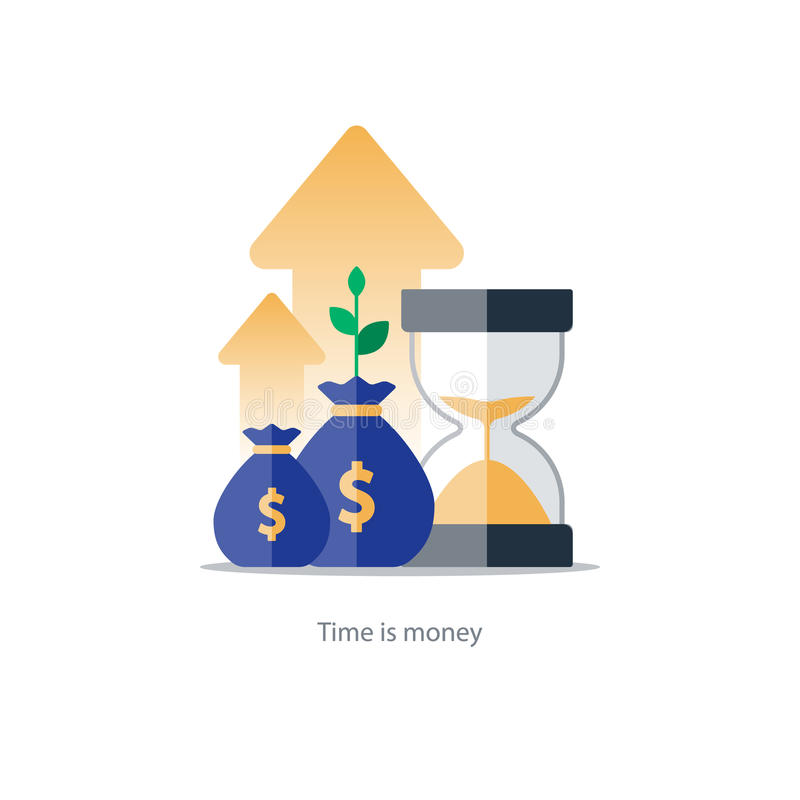 Finances and investment management, budget planning, compound interest, income. Compound interest, time is money, added value, financial investments in stock royalty free illustration