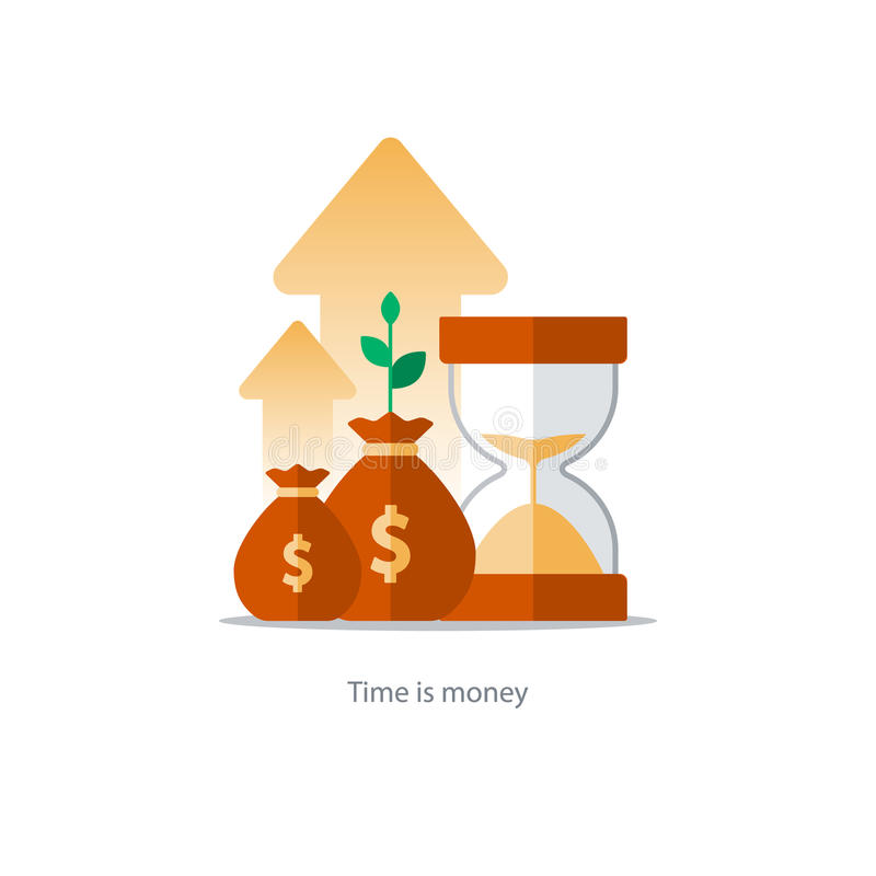 Finances and investment management, budget planning, compound interest, income. Compound interest, time is money, added value, financial investments in stock stock illustration