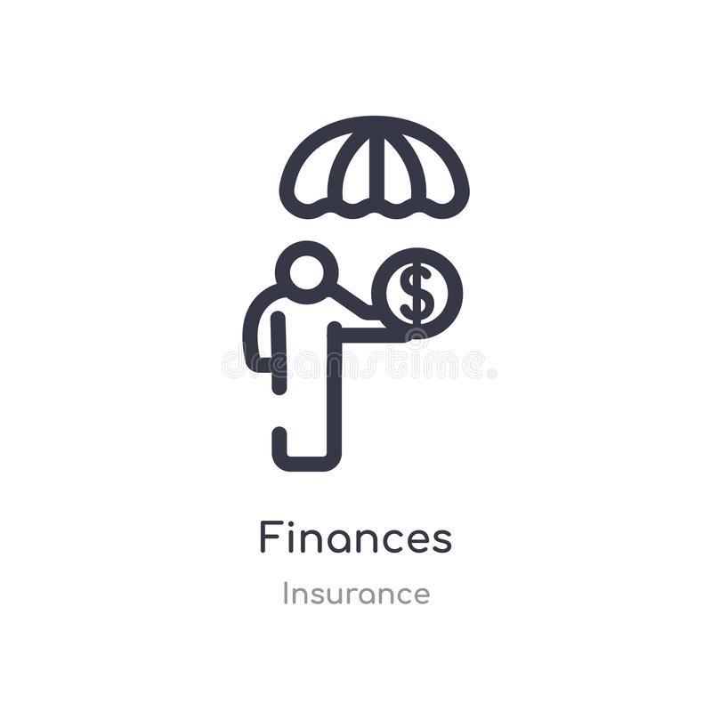 finances outline icon. isolated line vector illustration from insurance collection. editable thin stroke finances icon on white vector illustration