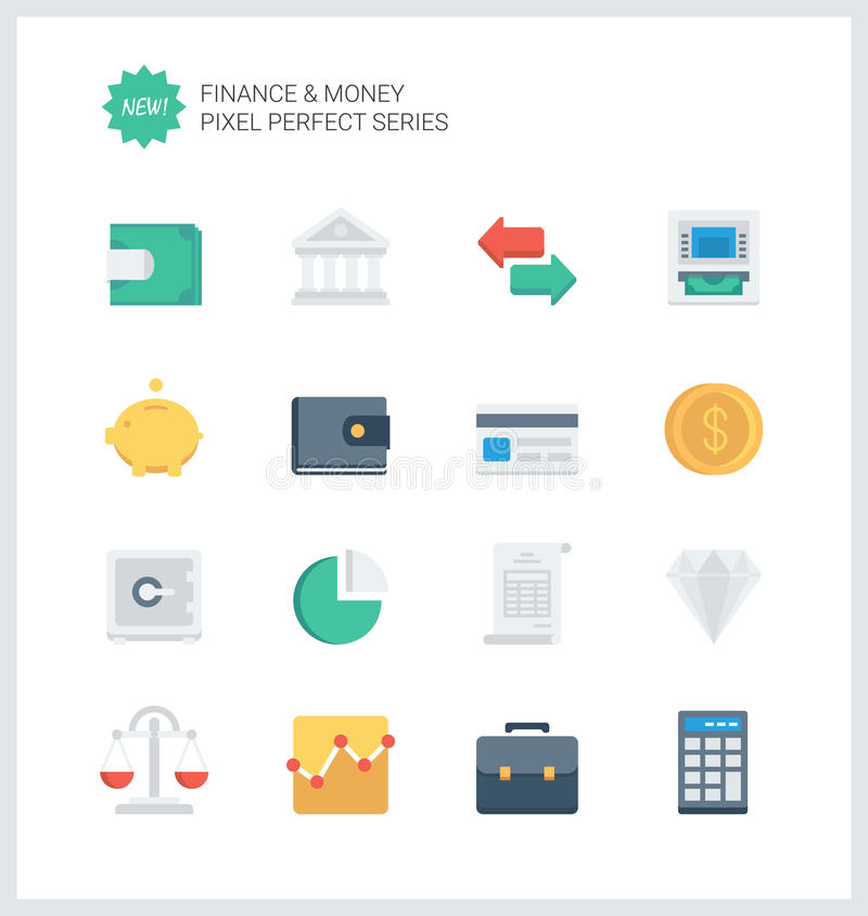 Finances parfaites de pixel et icônes plates d'argent illustration de vecteur