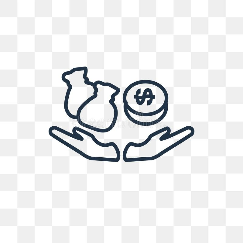 Finances vector icon isolated on transparent background, linear royalty free illustration
