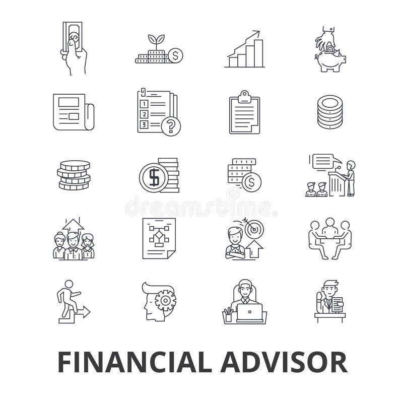 Financiële adviseur, planning, adviseur, ontwerper, investering, accountant, bedrijfslijnpictogrammen Editableslagen vlak stock illustratie