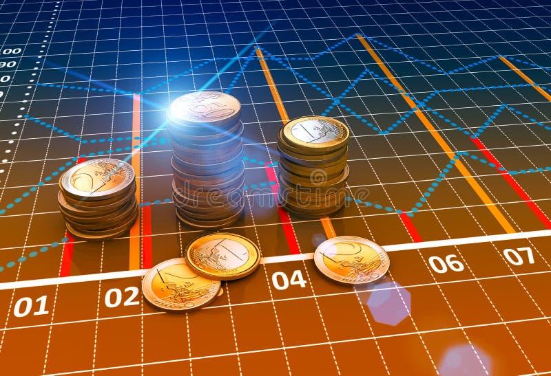 Financiële bedrijfsgrafieken en muntstukken vector illustratie