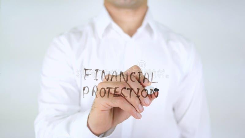 Financiële Bescherming, Mens die op Glas schrijven stock afbeeldingen