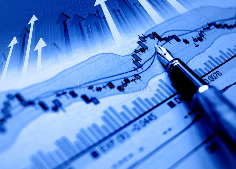 Financiële blauwe grafiekachtergrond stock foto