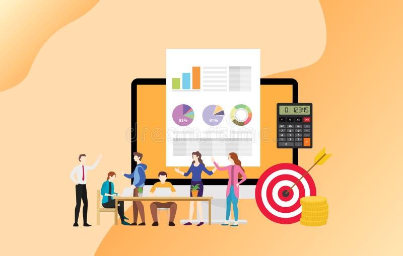 Financiële commerciële teammensen die samen met geld en doelstellingen werken - vector royalty-vrije illustratie