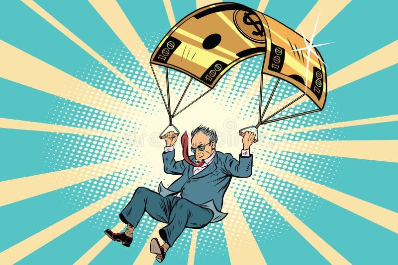 Financiële compensatie van het bejaarde de Gouden valscherm in bu stock illustratie