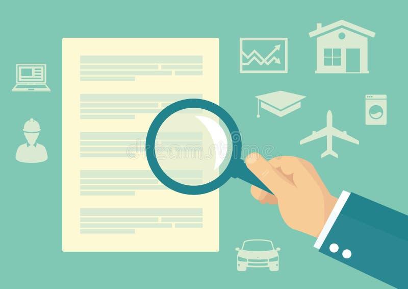 Financiële contractmens het inspecteren details vector illustratie