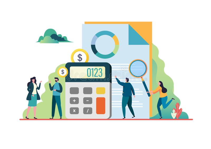 Financiële controle Adviseurvergadering Bedrijfs concept Het vlakke vectorontwerp van het illustratie moderne karakter Voor een l royalty-vrije illustratie