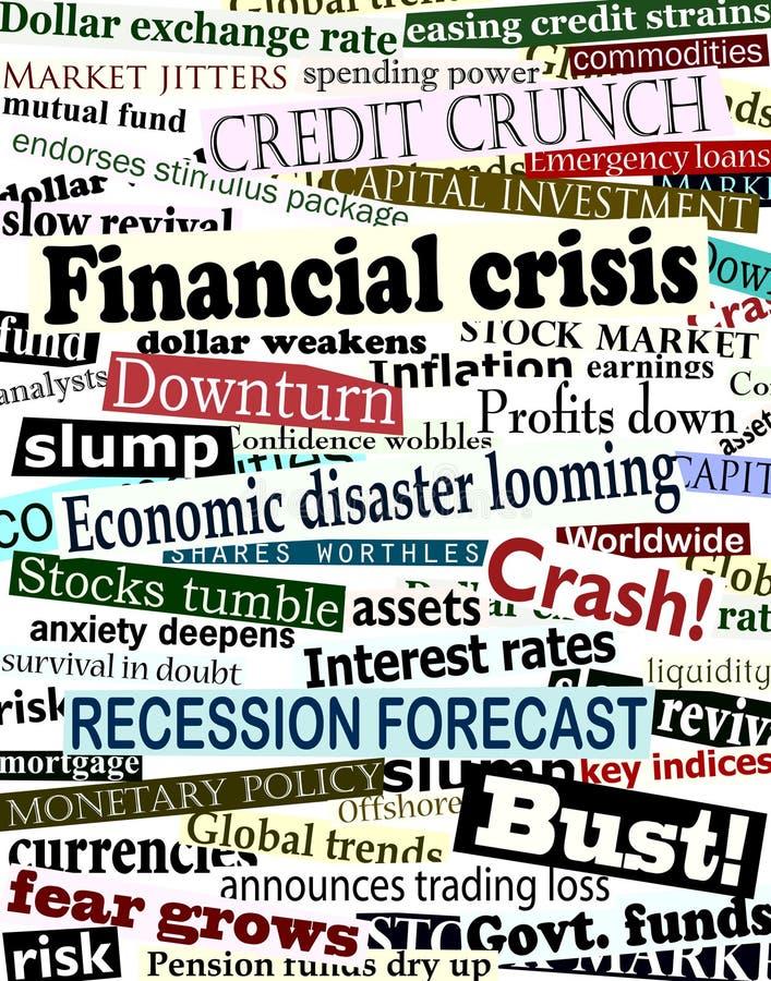 Financiële crisiskrantekoppen vector illustratie