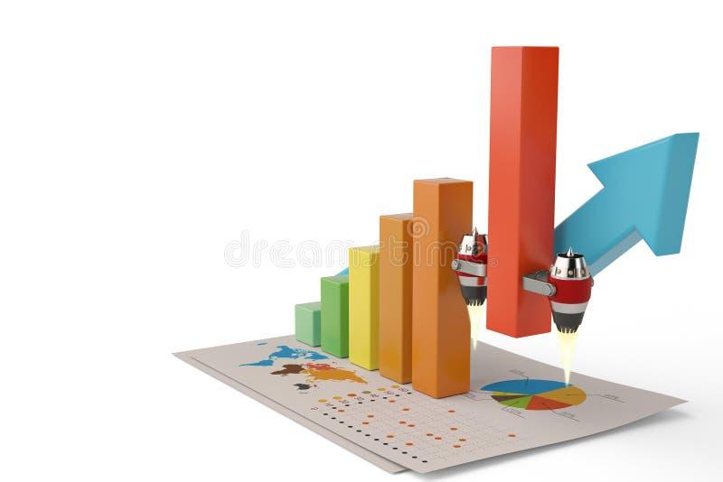 Financiële de grafiek van de succesgrafiek het groeien straalmotor omhoog 3d illus royalty-vrije illustratie