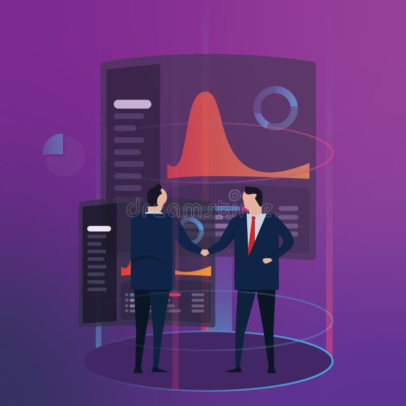 Financiële de prestatiessamenvatting Analytics van het bedrijfsgegevensdashboard De handdruk van de werknemersmanager futuristisc royalty-vrije illustratie