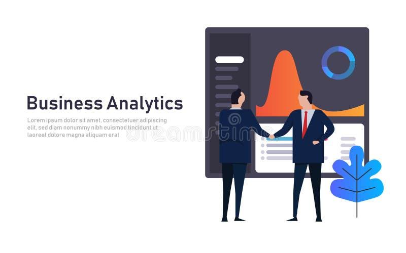 Financiële de prestatiessamenvatting Analytics van het bedrijfsgegevensdashboard De handdruk van de werknemersmanager futuristisc stock illustratie