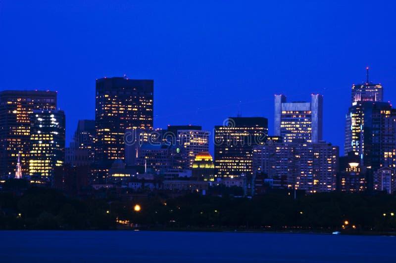 Financiële Distric van Boston in de Avond stock afbeeldingen
