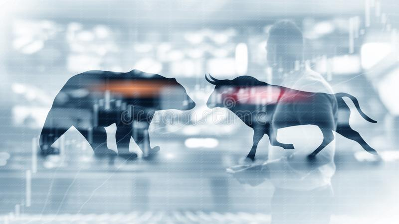 Financiële en bedrijfs abstracte achtergrond met de grafiekgrafiek van de kaarsvoorraad De stier en draagt het concept van concep stock foto's