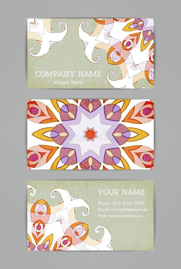 Financiële en BedrijfsReeks Uitstekend kleurrijk ornament met wervelingen stock illustratie