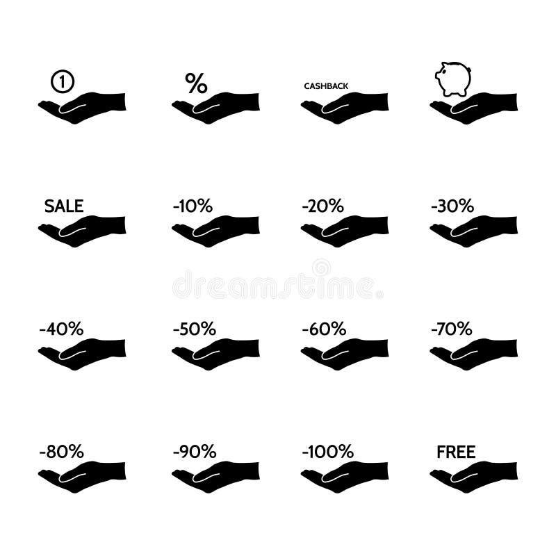 Financiële en verkooppictogrammen stock illustratie