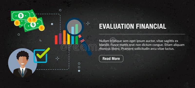 Financiële evaluatie, banner Internet met pictogrammen in vector stock illustratie