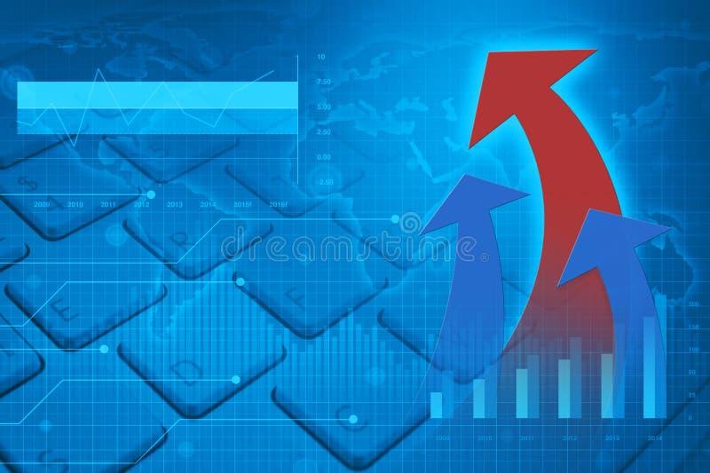 Financiële grafiek, grafiek en kaart met pijlhoofd, succes globaal c stock illustratie