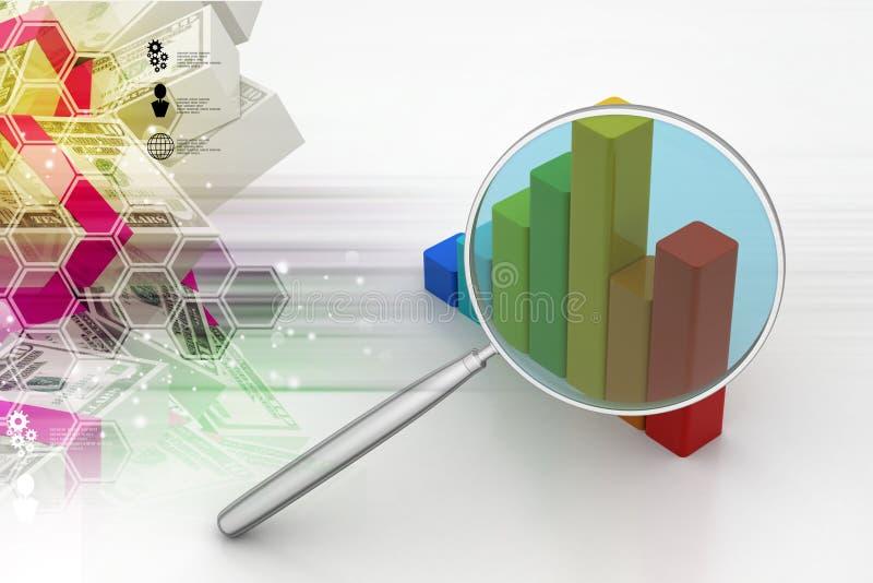 Financiële grafiek met meer magnifier vector illustratie