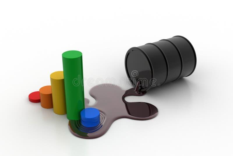 Financiële grafiek met olievat stock illustratie