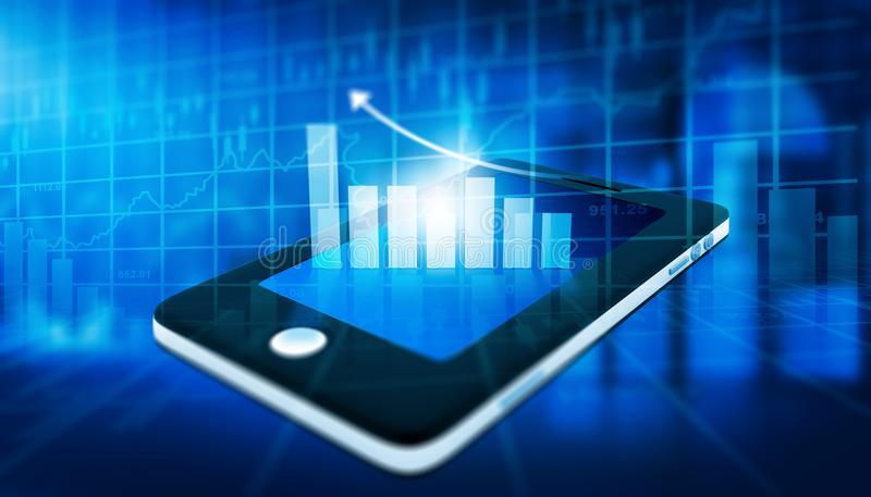 Financiële grafiek op tabletpc stock afbeeldingen