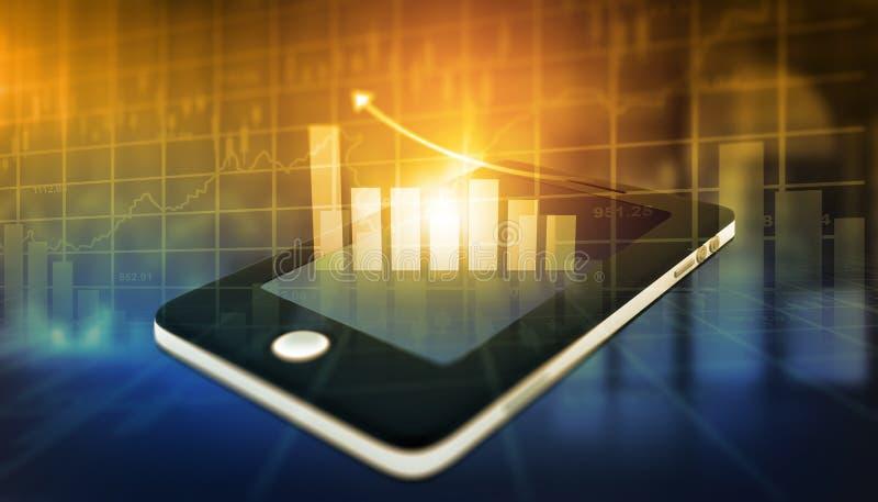 Financiële grafiek op tabletpc stock foto
