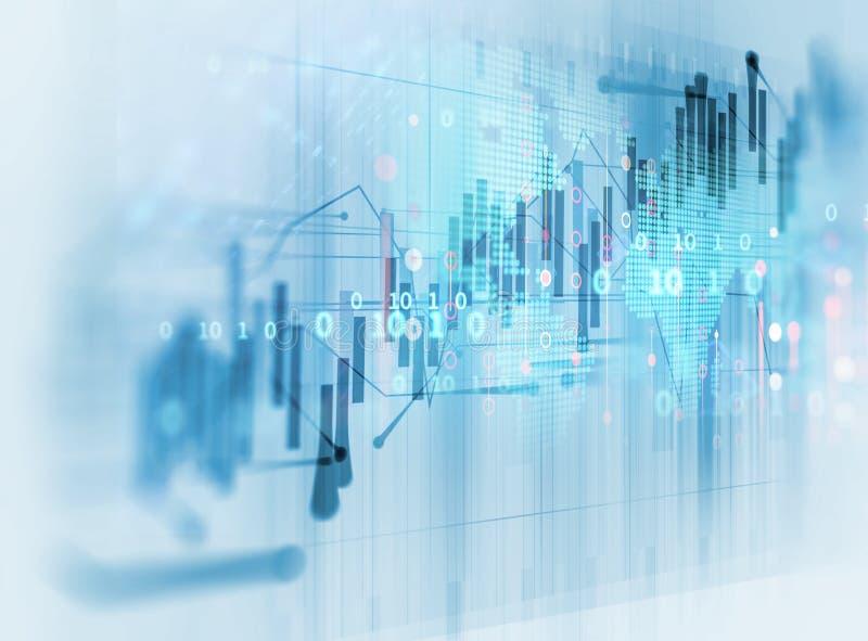 Financiële grafiek op technologie abstracte achtergrond stock illustratie