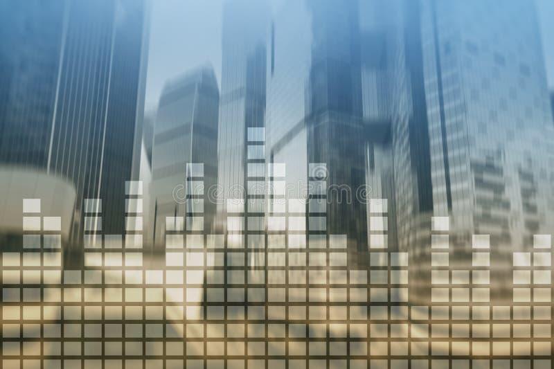 Financiële grafieken en grafieken op vage commerciële centrumachtergrond Invesment en handelconcept stock foto