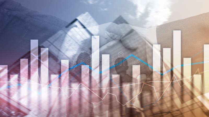 Financiële grafieken en grafieken op vage commerciële centrumachtergrond Invesment en handelconcept royalty-vrije stock foto's