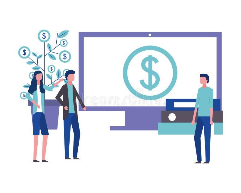 Financi?le het geld van de bedrijfsman en vrouwenbureaucomputer vector illustratie