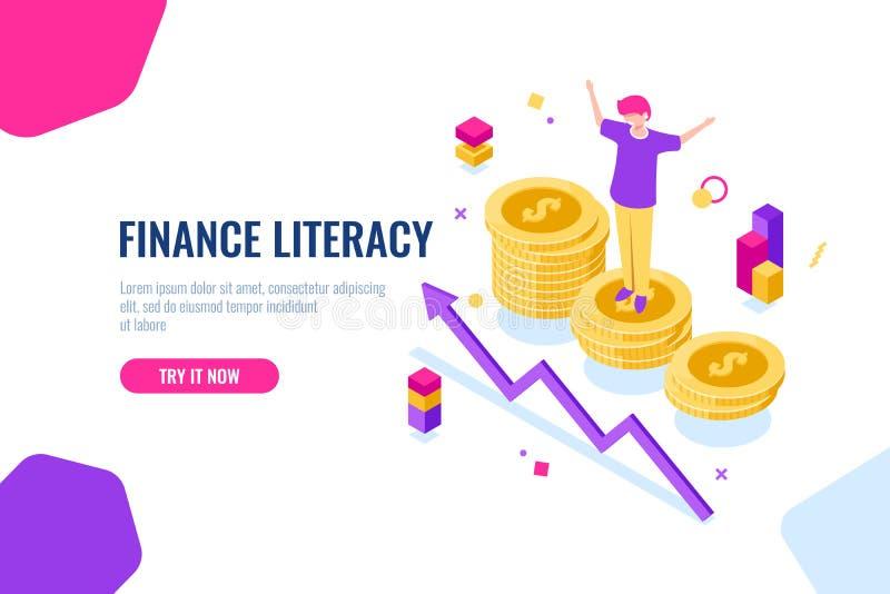 Financiële isometrische geletterdheid, geldboekhouding, economische illustratie met vrouw die zich op podium, economiestrategie b vector illustratie