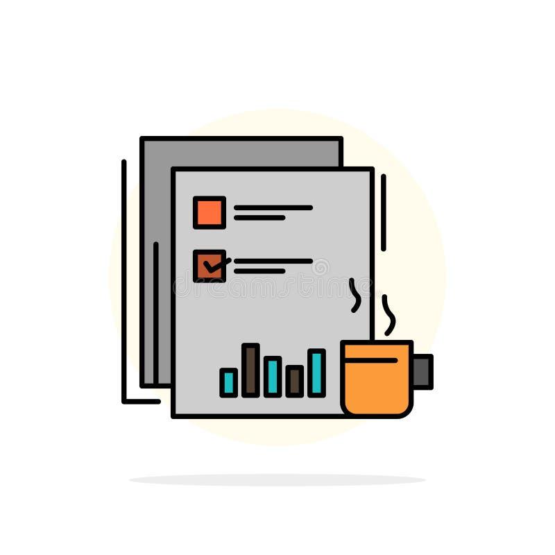 Financiële koffie, Markt, Nieuws, Krant, Kranten, Document Abstract Cirkel Achtergrond Vlak kleurenpictogram stock illustratie